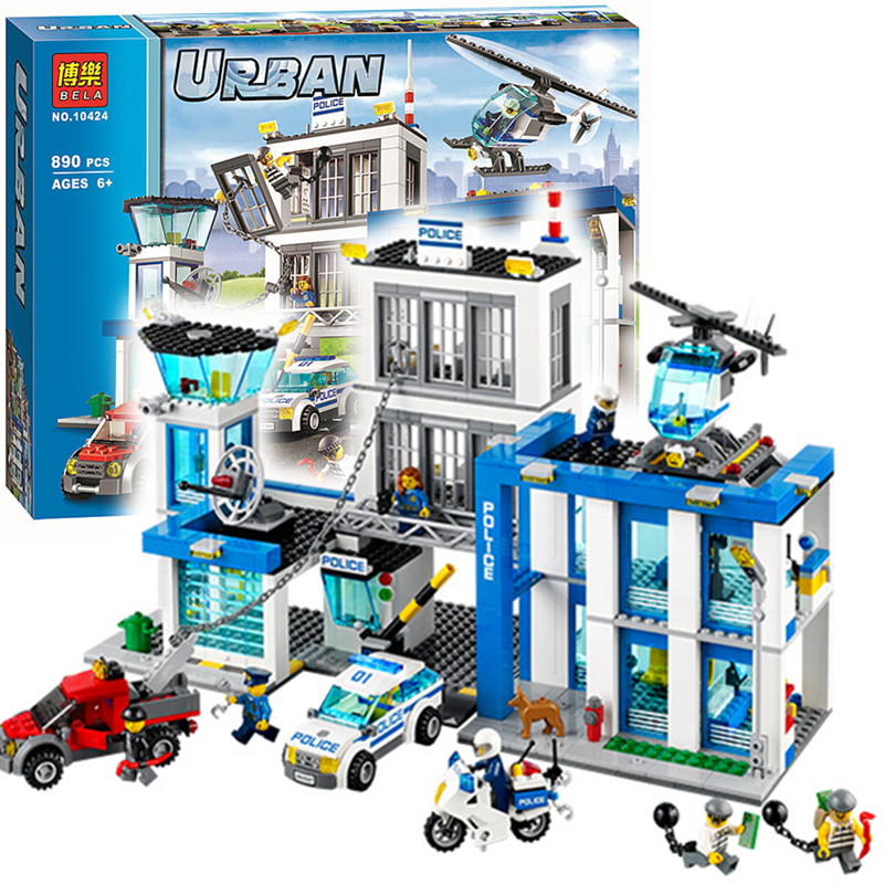 Bela 10424 City Police Station Motorbike Helicopter Model Building Kits Compatible With Lego City 60047 Blocks