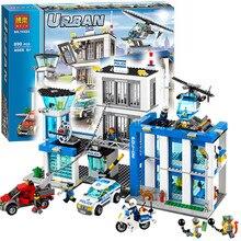 Бела 10424 город полицейский участок мотоцикл модель вертолета строительного совместимы с LEGO City 60047 блоков развивающие игрушки