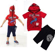 EMS DHL Free shipping baby boys Spider man kids summer 2pc set shirt + pants summer clothing outfit Children Clothing