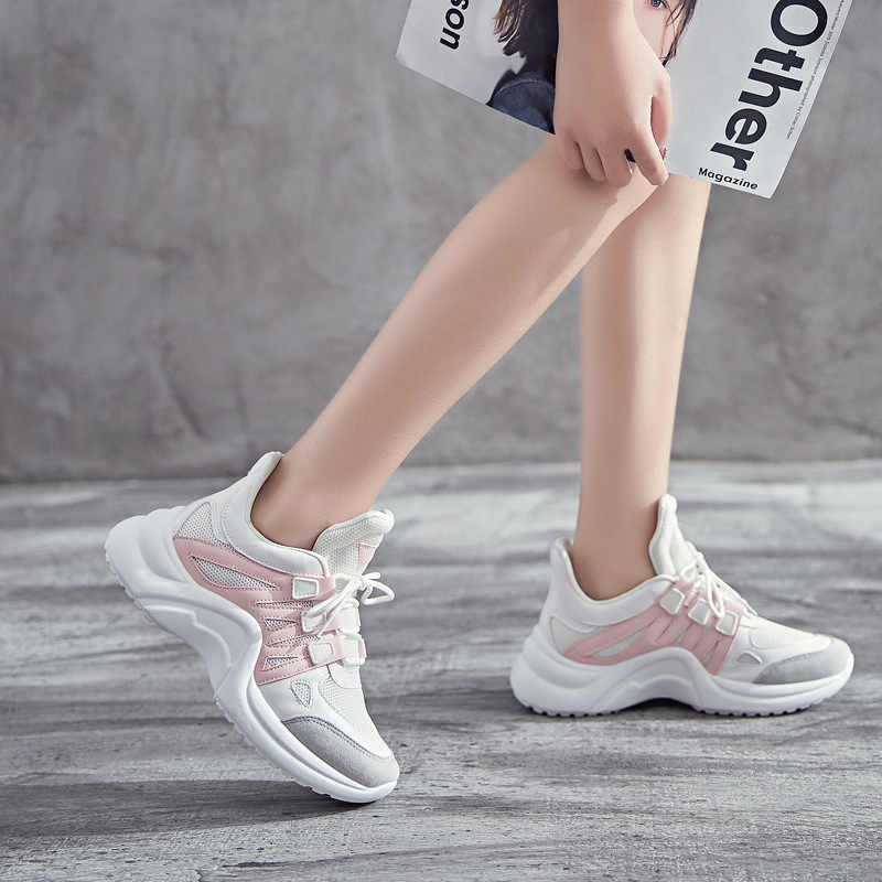 0ec990d3089f5f Brand 2018 Sport Shoes Woman Breathable Mesh Luxery Running Shoes Vulcanize  Female Sneakers Lace Up Soft