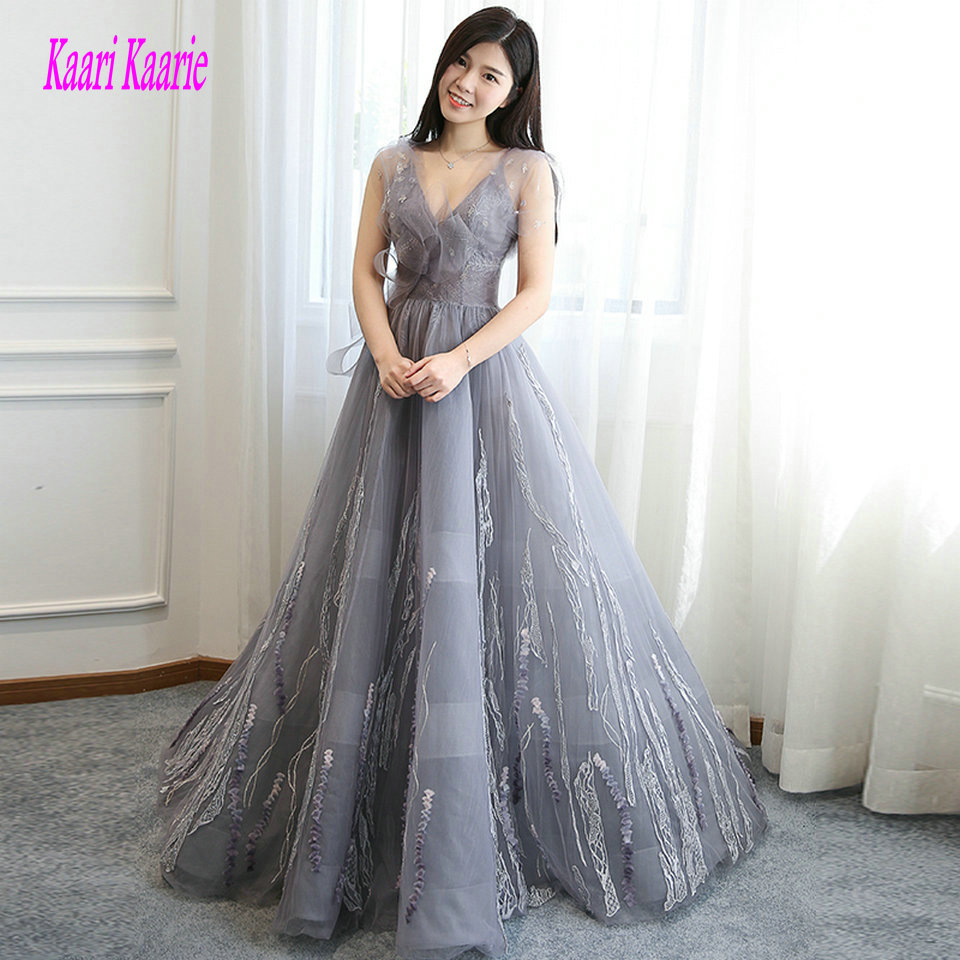 Sexy Gray   Evening     Dresses   Long 2018 Plus Size   Evening   Gown V Neck Tulle Lace Appliques Backless Formal Women Party   Dress   Prom