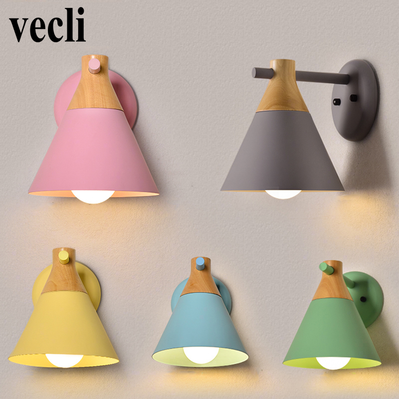 Nordic style creative wall lighting pinkycolor macaroon iron art lamp bedroom hotel decorative lights