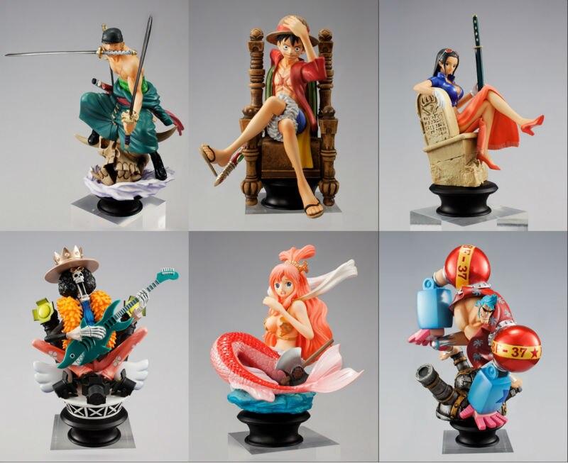 One Piece chess piece collection Figure set Luffy Shirahoshi Robin Zoro Franky Brook color box 13cm H