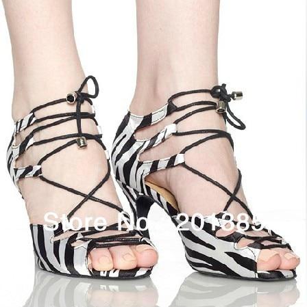 Remise Femmes Zèbre Satin Chaussures De Danse Latine Salle De Bal Chaussures  De Danse Salsa Chaussures