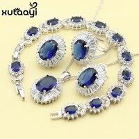 Femmes Quatre Pièce Bleu Cubique Zircone De Mode 925 Bijoux En Argent Définit Joyeux Collier Bague Boucle D'oreille Bracelet Livraison Boîte