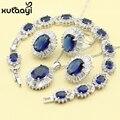 Mulheres de Quatro Peças Alegre Azul Safira Sintética Moda 925 Conjuntos de Jóias de Prata Colar Anel Brinco Pulseira Caixa Livre