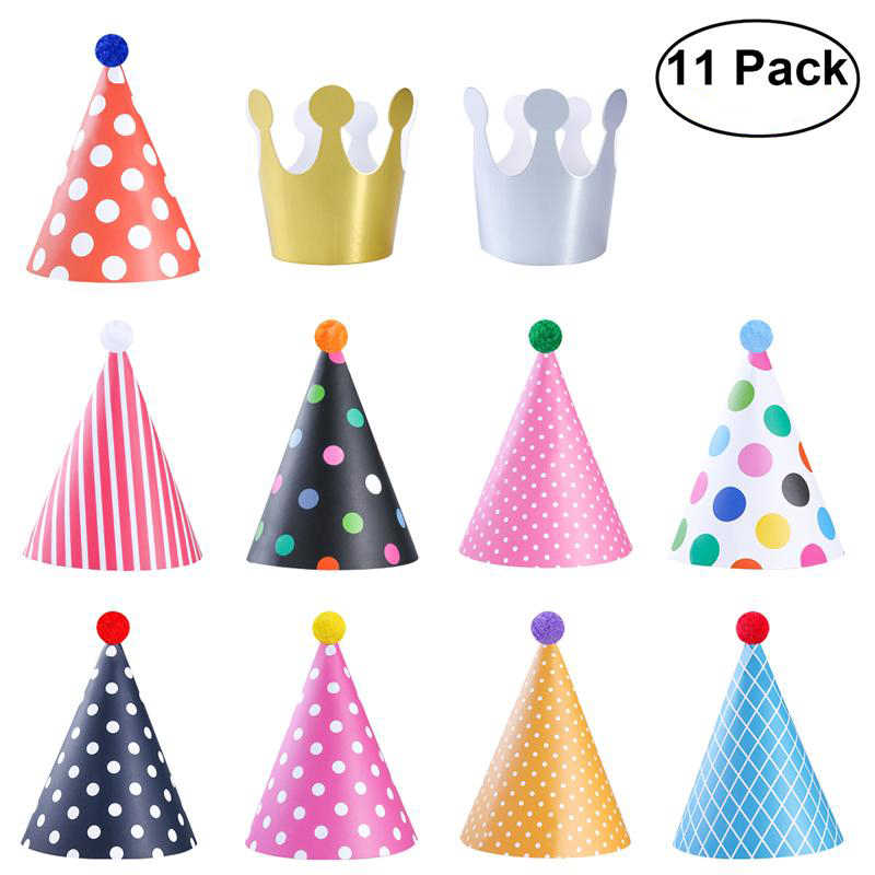 11 Pieces Happy Birthday Party Hats Polka Dot Diy Cute Handmade Cap Crown Shower Baby Decoration Boy Girl Gifts Supplie