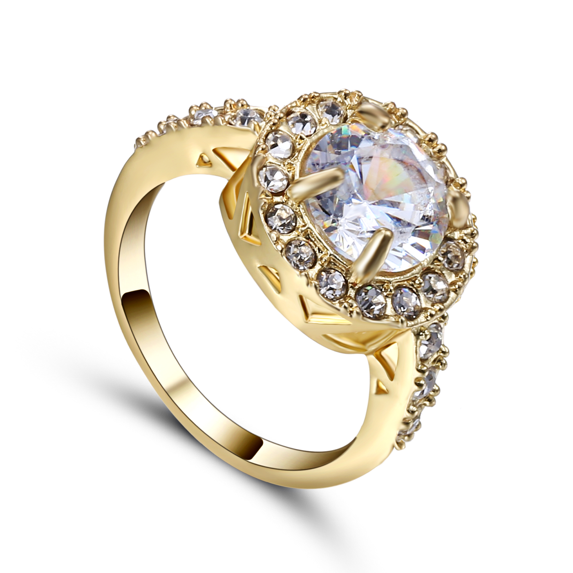 Size 7 Womens Wedding Rings Cut CZ Gold colour Plated Filled Engagement Fashion Femme Ring Dropshipping Hot Sale