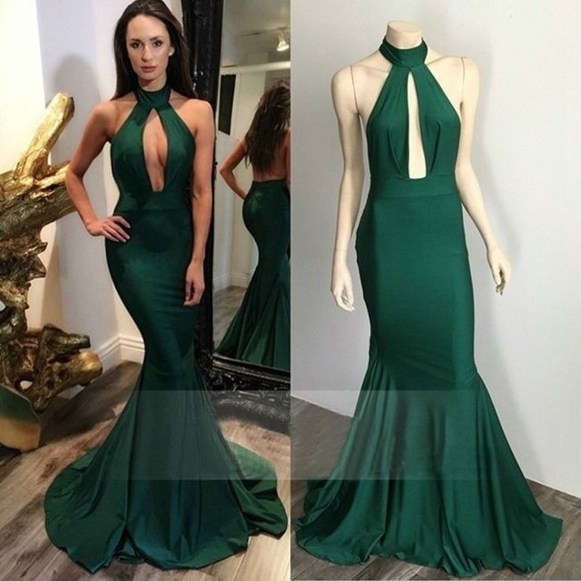 2017 Sleeveless Long Prom Dresses Elegant Halter Mermaid