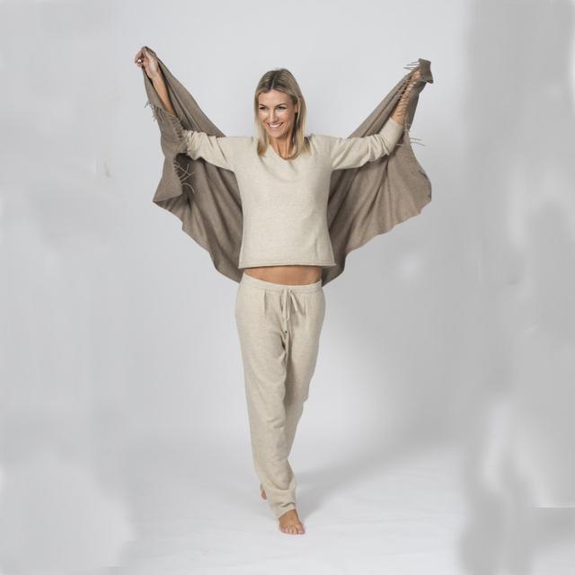 Mulheres suéteres de Cashmere e auntmun adohon 2016 de inverno das mulheres Define Pullovers de malha das Mulheres de Alta Qualidade Calças Quentes do Sexo Feminino