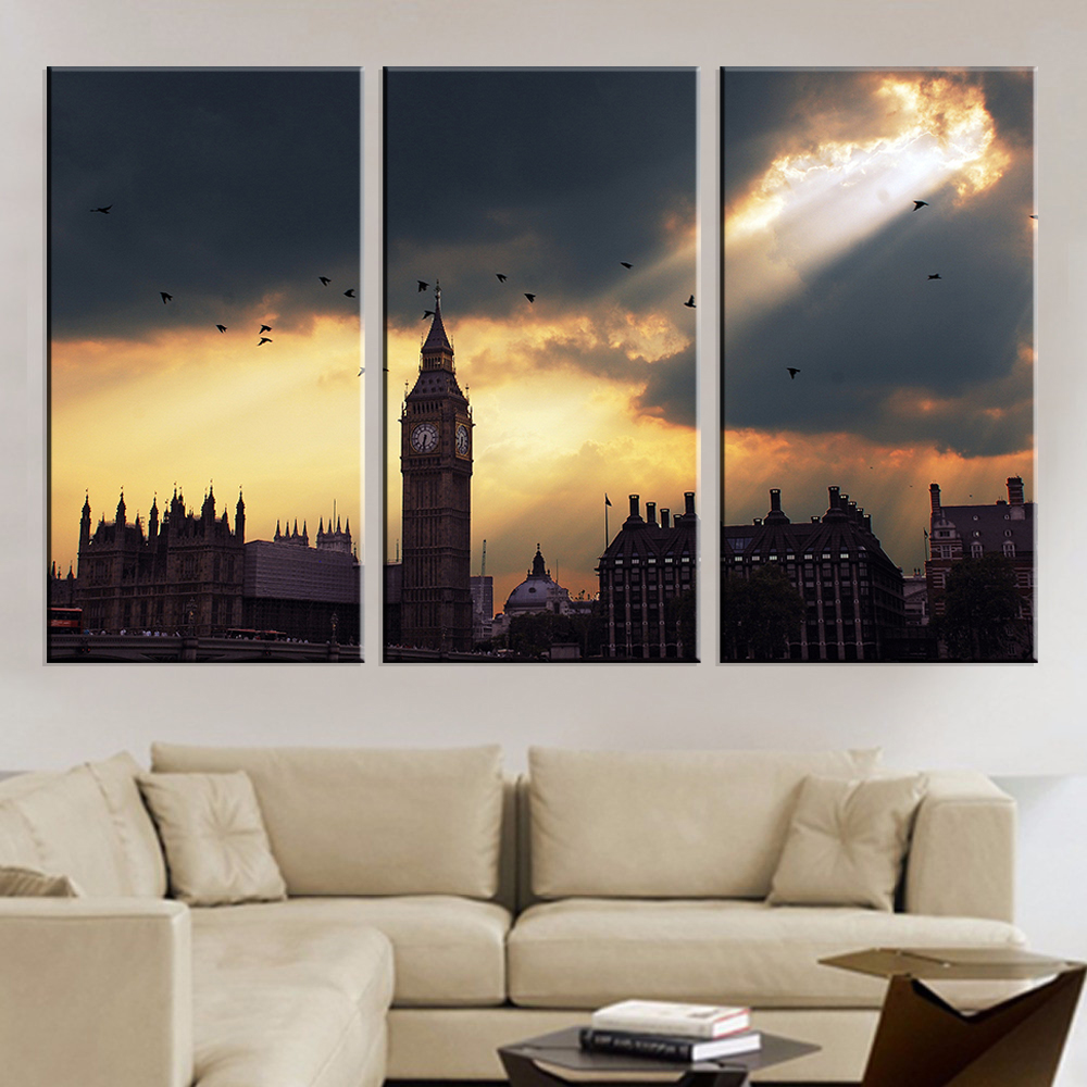 bright art work promotion shop for promotional bright art work on frameless buiding art canvas painting wall art home decoration bright setting sun landscape oil picture for room art work 3pcs