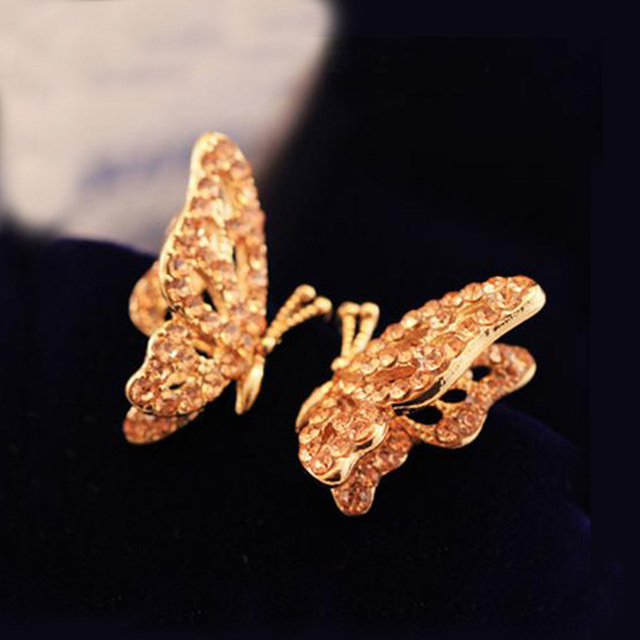 Cute Gold Color Crystal Rhinestone Erfly Ear Stud Earrings For Women S Jewelry Valentine Day Gifts