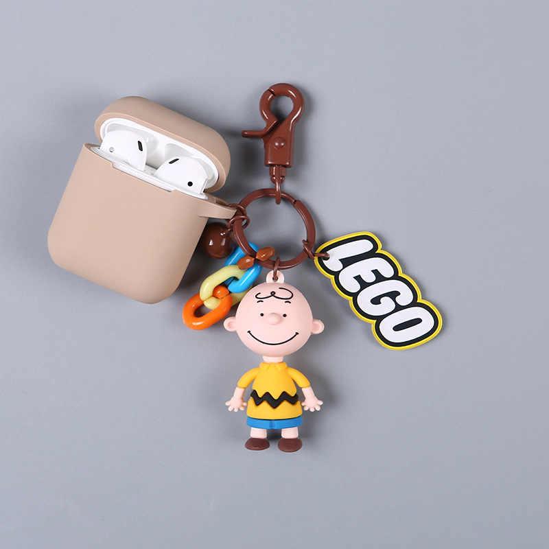 Nowy Cute Cartoon charliego browna i pies lalki brelok bezprzewodowa Bluetooth etui na słuchawki dla Airpods ochronna... breloki