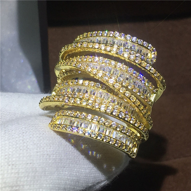 Luxury Big ring Yellow Gold Filled Engagement wedding band rings