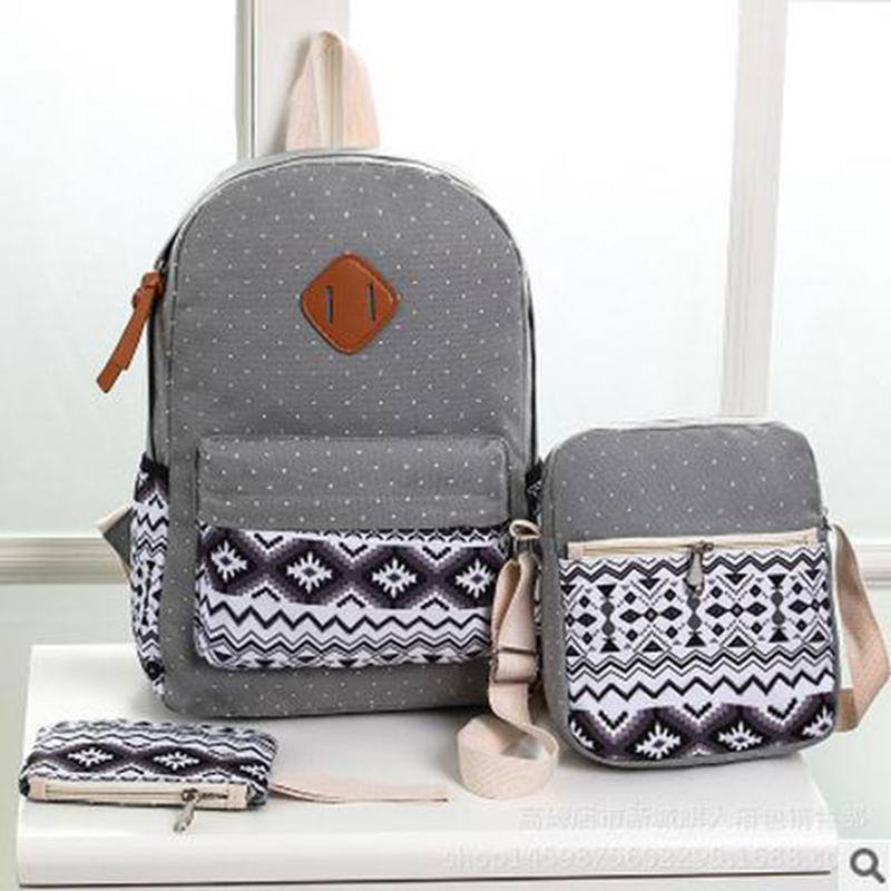 856store Casual Fashion Canvas Backpack Lightweight Foral Print Women Sports Travel School Bag 4#