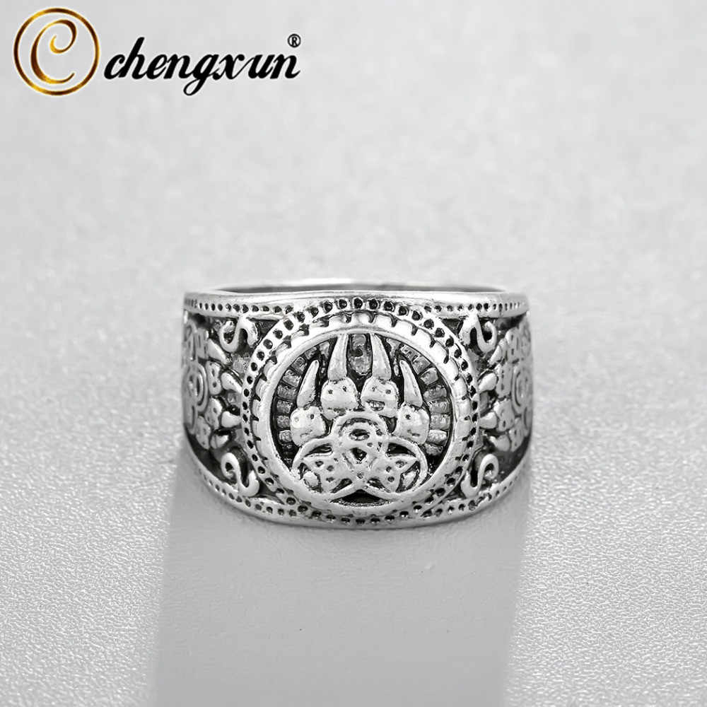 CHENGXUN Delicate Bear Paw Slavic Ring Viking Jewelry Soldier Military Russian Signet Ring Top Quality Personality Punk Style