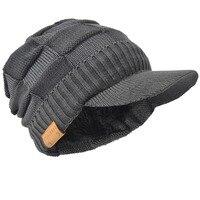 c09e42e0503b7 HISSHE Mens Winter Newsboy Hats Classic Solid Casual Visor Beanie Skull Caps  Thick Warm Ski Hats