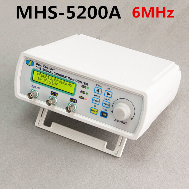 MHS-5200A High Precision Digital DDS Dual-channel Signal Source Generator Arbitrary Waveform Frequency Meter 200MSa/s 6MHz