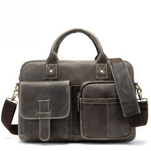 Men Briefcase Genuine Leather  Handbags Large-Capacity Officer shoulder bags Messenger bag lawyer Vintage briefcase