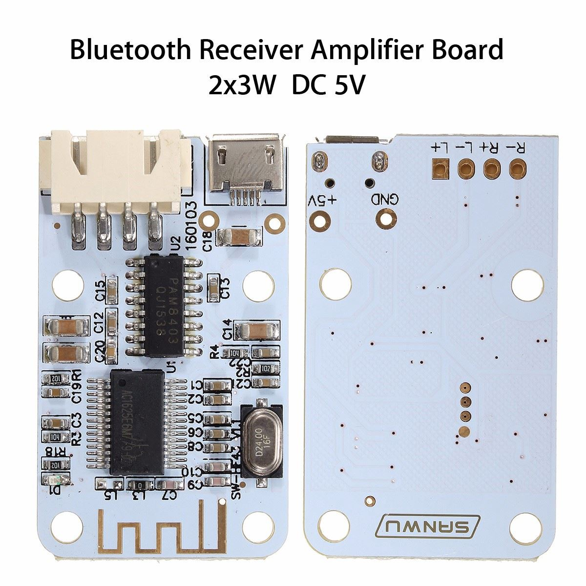 1pcs 2x3w Micro Usb Wireless Bluetooth Speaker Audio Receiver Electric Unit Circuit Board Amplifier Module 12v 2x15w Mini Digital In Acoustic Components From Electronic Supplies On