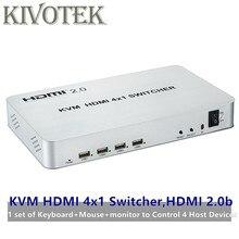 4 יציאת HDMI USB KVM Switcher 4k X 2K HDMI 2.0b מתג 4X1 שליטה עד כדי 4 HDMI מכשירים באמצעות אחת USB מקלדת & עכבר משלוח חינם