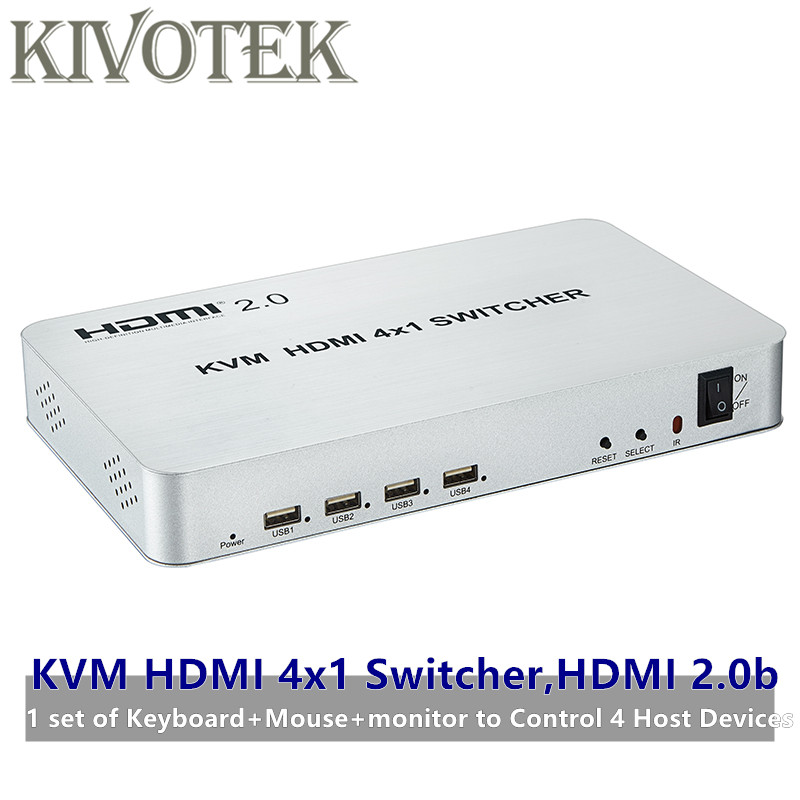 4 port HDMI USB KVM Switcher 4kX2K HDMI 2.0b Switch 4X1 Control up to 4 HDMI Devices via Single USB Keyboard&Mouse Free Shipping-in Computer Cables & Connectors from Computer & Office