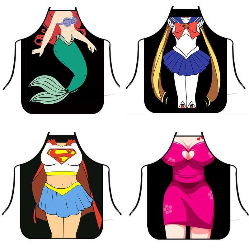 Sexy Apron Creative Kitchen Apron Funny Mermaid Women Aprons Dinner Party Cooking Apron Adult Baking Accessories