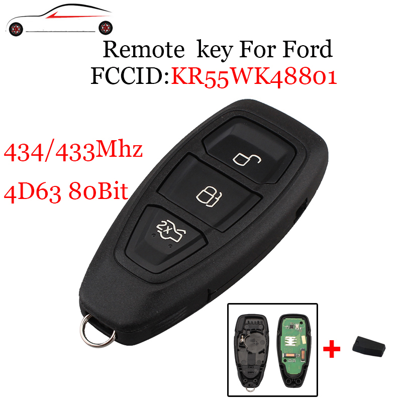GORBIN 433/434Mhz 4D63 80Bit Chip For Ford KR55WK48801 Smart Remote Key Keyless For Ford Focus C-Max Mondeo Kuga Fiesta B-Max 2x 18 smd led license plate light module for ford focus da3 dyb fiesta ja8 mondeo mk4 c max s max kuga galaxy