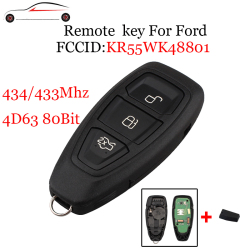 GORBIN 433/434Mhz 4D63 80Bit Chip For Ford KR55WK48801 Smart Remote Key Keyless For Ford Focus C-Max Mondeo Kuga Fiesta B-Max