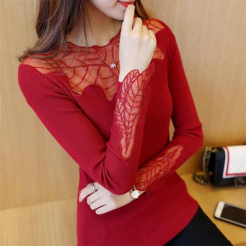 2019 красный черный Для женщин элегантное платье с длинными рукавами и свободные Милые рубашки кружевная блузка Для женщин большого размера эластичный Весна корейский стиль блуза Топ