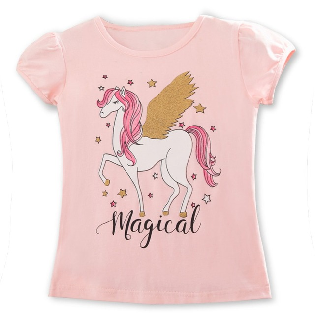 2019 Summer Fashion Unisex Unicorn T-shirt Children Boys Short Sleeves White Tees Baby Kids Cotton Tops For Girls Clothes 3 8Y 1