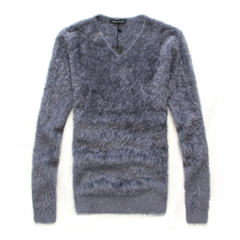 Hot New Autumn Winter Men's Sweater Solid Color Casual Sweater Men's Slim Fit O-Neck Mohair Brand Knitted Pullovers Pull Homme