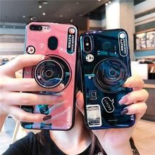 Retro Camera Case For Huawei Honor 9 lite Silicone Cute Stand Holder Cover 10 V9 Play V10