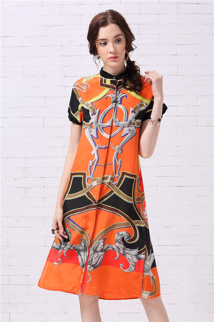 Женское платье с коротким рукавом Mifairy, оранжевое ТРАПЕЦИЕВИДНОЕ ПЛАТЬЕ с принтом, модель 110802