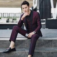 5XL костюмы мужские бордовые свадебные костюмы для Мужская социальной Terno Masculino костюм Slim Fit Mariage Homme бизнес свадебное платье 2018