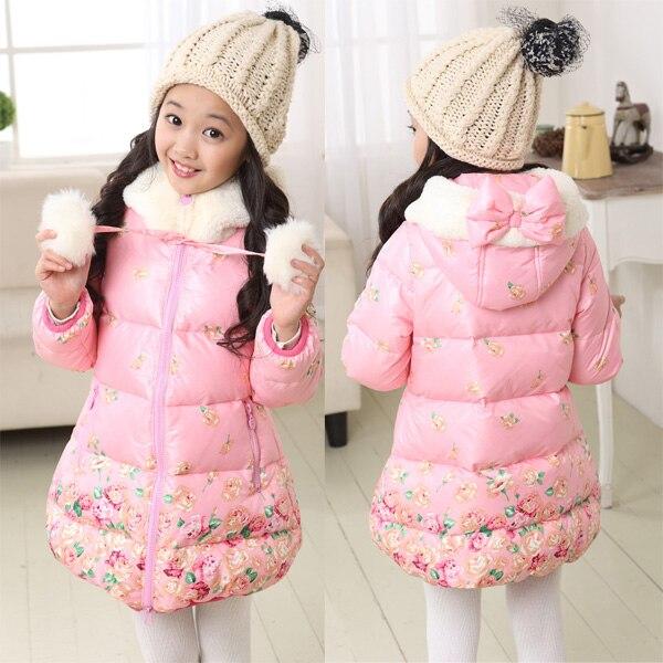 طفلة ستر معطف وردي زهرة كيد قميص vestidos الشتاء ازياء ملابس الأطفال أسفل سترة سميكة معطف الرضع 3 12