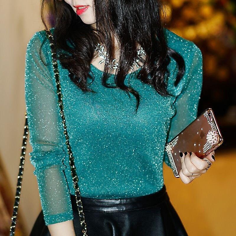 2019 Spring Summer Women's Sexy See Through Mesh Blouse Long Sleeve Transparent Shining Elegant Shirt Fashion Women Tops DF2417