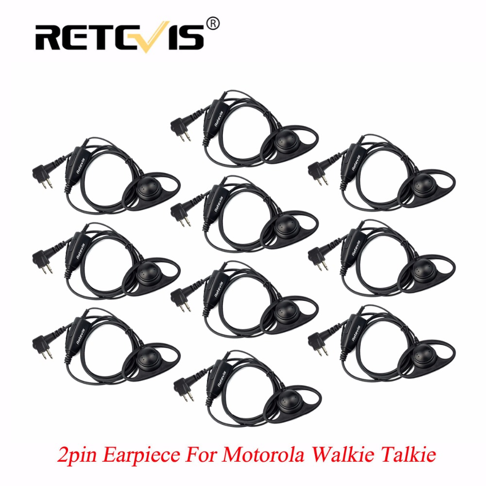 10pcs Retevis D Shape Soft Ear Hook Earpiece PTT Walkie