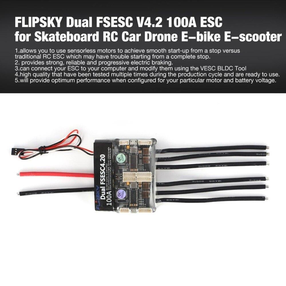 HGLRC FLIPSKY Dual FSESC 4.2 100A ESC Controllo Elettronico della Velocità per Lo Skateboard Elettrico RC Auto Barca E-bike E -scooter Robot