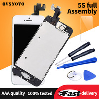 Ovsnovo Full Set LCD For iPhone 5s Display Touch Screen Digitizer Assembly Replacement for iPhone 5 LCD+Home Button&Front Camera