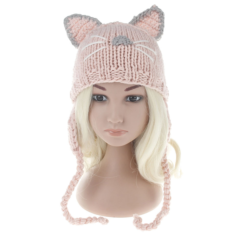 New Winter Cat Ear Tab Hat Children Knited Beanies Baby Boys Girls Cute Warm Hats Yard Knit Caps Kids Unisex Skullies 3 Colors 2 newborn kids skullies caps children baby boys girls soft toddler cute cap new sale