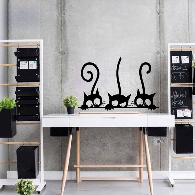 Lovely Three Black Cat Wall Stickers 20×30 cm
