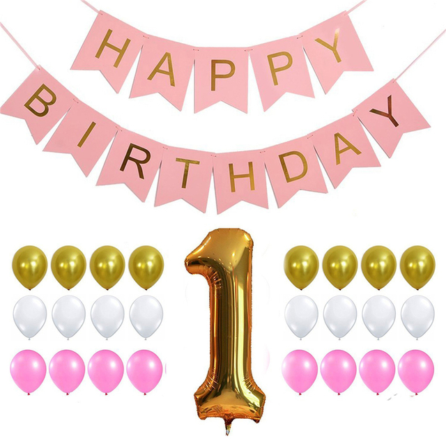 Baby 1st Birthday Happy Background Decorations Latex Balloons Foil Digital Letter Flag Drop Shipping