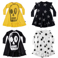 GIRLS SKULL STAR DRESSES LONG SLEEVED baby girl christmas dress kids dresses for girls thanksgiving hoodie dress