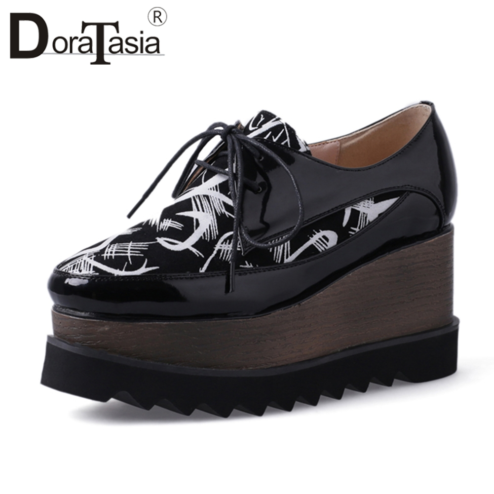 DORATASIA 2019 Spring New Print Patent Genuine Leather Flat Platform Shoes Woman lace up Comfortable School