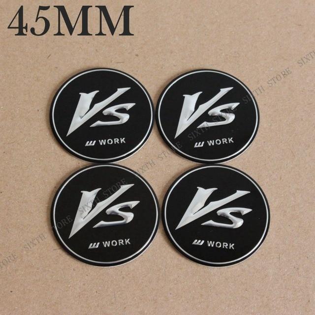 Kom power 4pcs 45mm work vs wheels center cap stickers work cap vs sticker emblem wheel