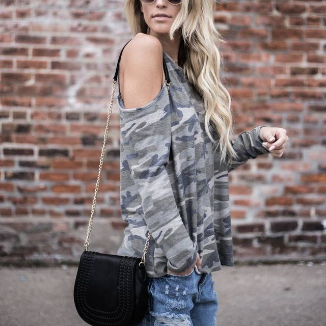 Women Sexy Long Sleeve Off Shoulder Camouflage T-shirt Casual oose T-shirts Spring Autumn Tops FS99 3