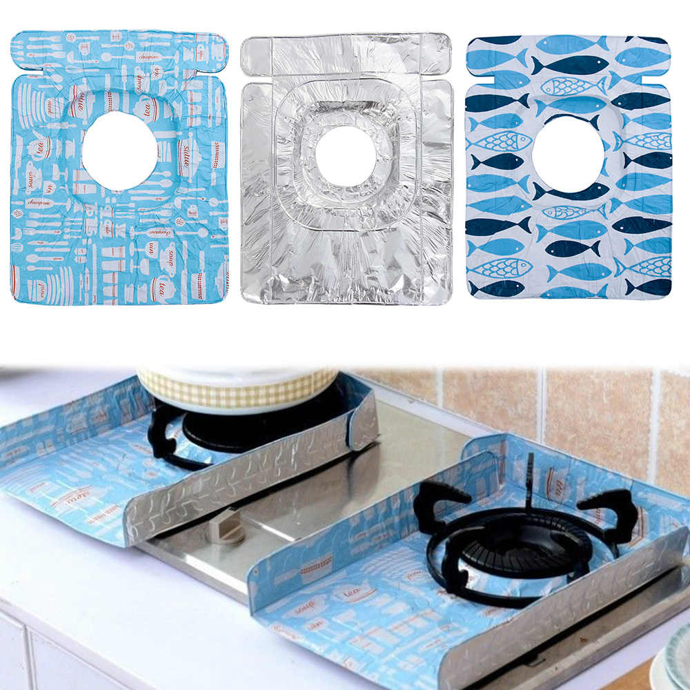 2Pcs/Set Reusable Gas Stove Surface Protection Mat Aluminum Foil Insulation Guard Oil Pad Burner Covers Kitchen Cleaning