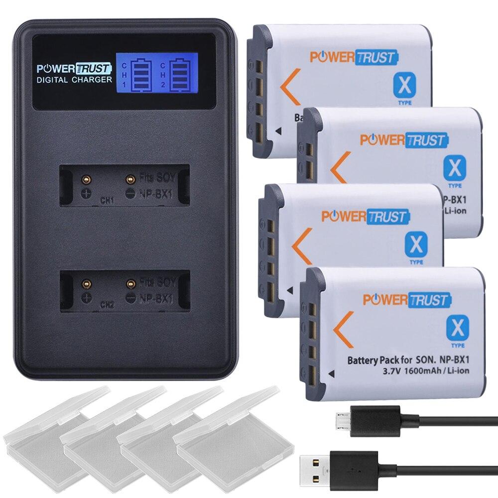 4 pcs NP-BX1 np bx1 BX1 Batterie + LCD USB Double Chargeur pour Sony DSC-RX100 DSC-WX500 IV HX300 WX300 HDR-AS15 x3000R MV1 AS30V