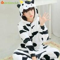 ACTIONCLUB Flannel Kigurumi For Adults Couples Daily Cow Pijama Cute Animal Onesie Sleepwear Anime Pajamas For